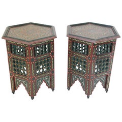 Pair of Moroccan Hand Painted Dark Green Side Tables