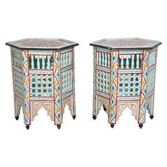 Pair of Moroccan Hand Painted Ivory Tables