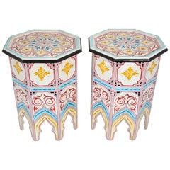 Pair of Moroccan Hand Painted Pedestal Tables