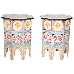 Pair of Moroccan Hand Painted Side Tables