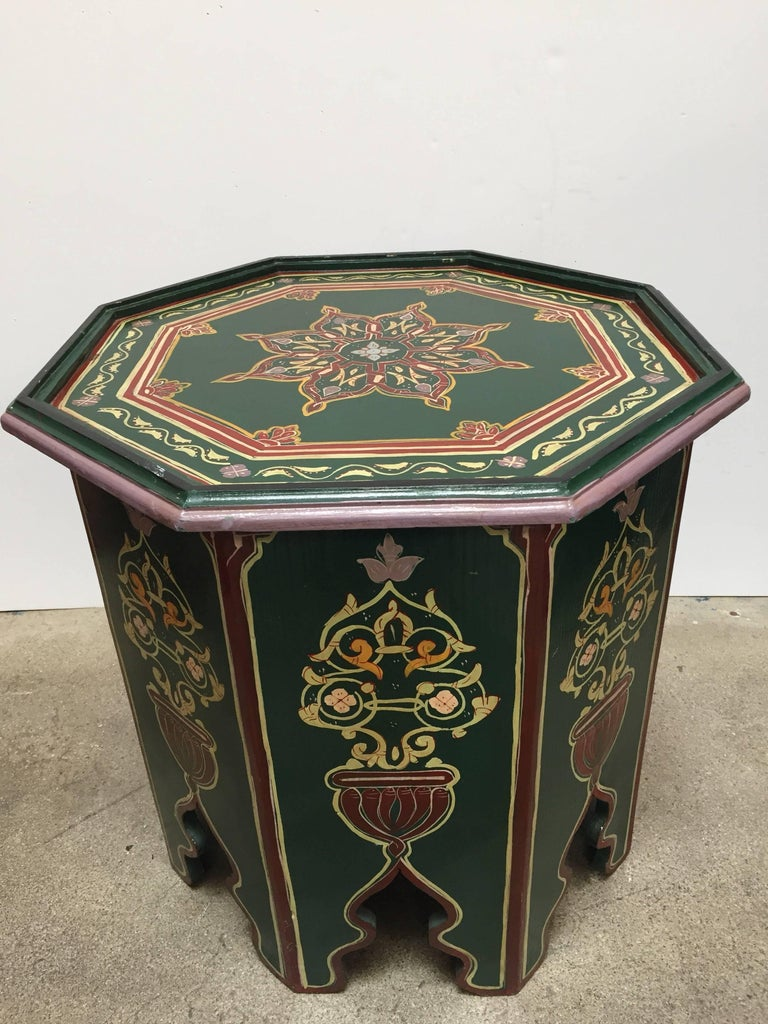 Pair of Moroccan Hand Painted Table with Moorish Designs ...