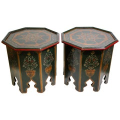 Pair of Moroccan Hand Painted Table with Moorish Designs