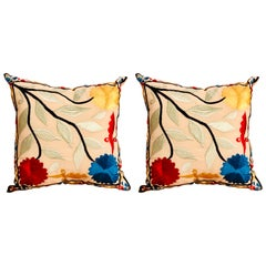 Pair of Moroccan Handmade Embroidered Pillows