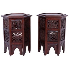 Pair of Moroccan Hexagon Stands or Tables