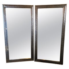Pair of Moroccan Hollywood Regency Large Wall / Floor Pier Silver Metal Mirrors