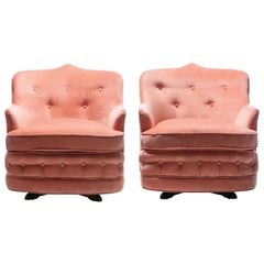 Pair of Moroccan Modern Hollywood Regency Swivel Chairs in Pink Velvet