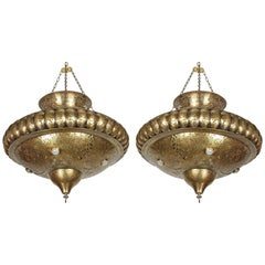 Pair of Moroccan Moorish Brass Light Pendants in Alberto Pinto Style