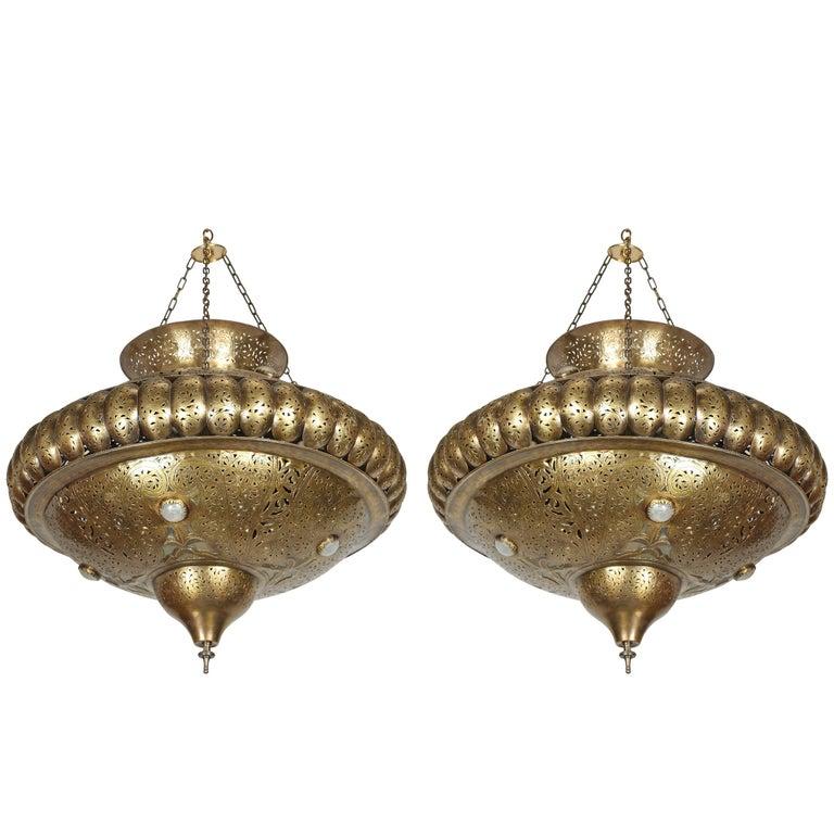 Pair of Moroccan Moorish Brass Light Pendants in Alberto Pinto Style
