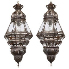 Pair of Moroccan Moorish Filigree Metal and Clear Glass Lanterns