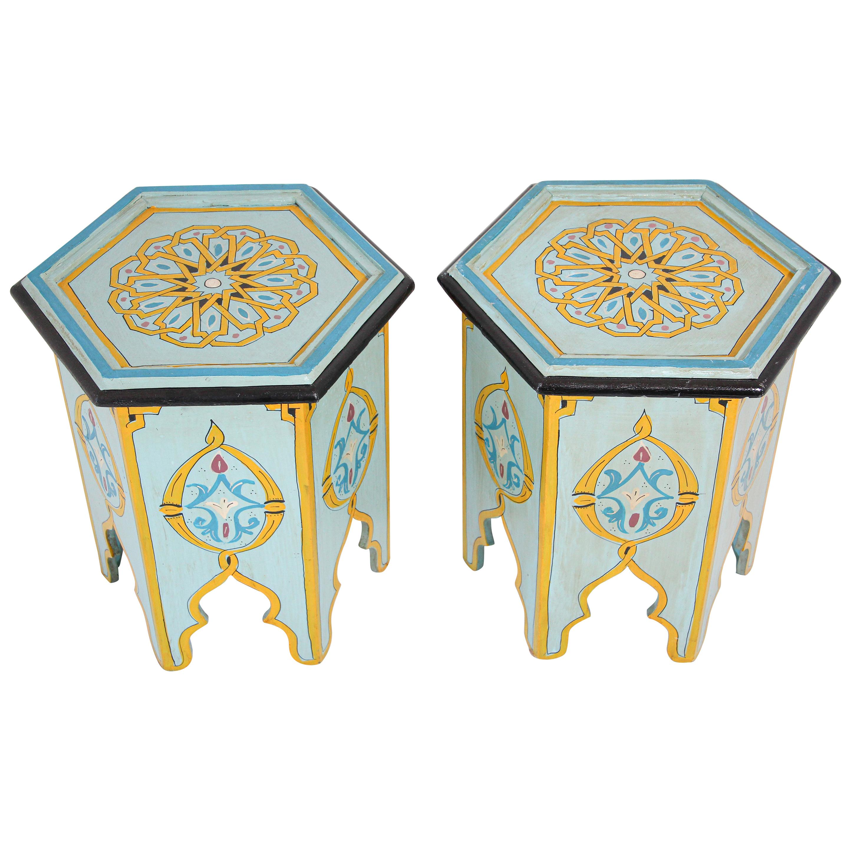 Pair of Moroccan Moorish Hand Painted Side Table