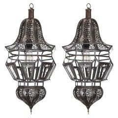 Pair of Moroccan Moorish Harem Hanging Pendant Lights