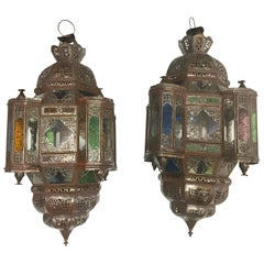 Pair of Moroccan Moorish Metal Lantern with Clear and Colored Glass