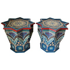 Pair of Moroccan Moorish Star Shape Blue Side Tables