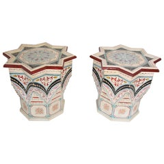 Pair of Moroccan Moorish Star Shape Ivory Side Tables