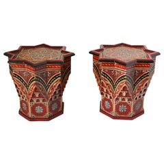 Pair of Moroccan Moorish Star Shape Red Side Tables