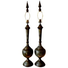 Pair of Moroccan Moorish Style Embossed Brass Lamps
