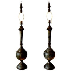 Pair of Moroccan Moorish Style Incised Brass Lamps