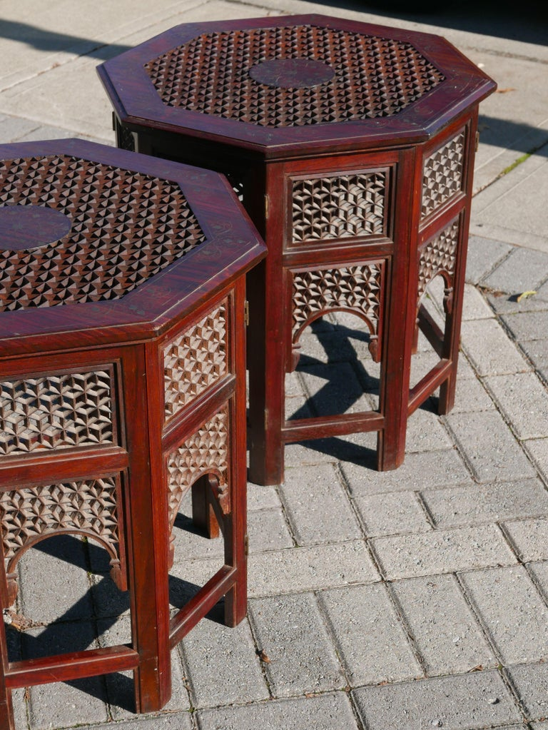 Stunning pair Moroccan sheesham wood and brass carved fretwork tables. One of the best versions of these tables i've ever seen.