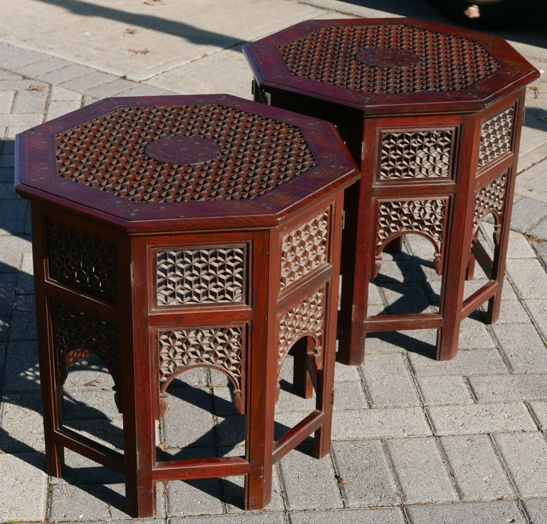 Moorish Pair of Moroccan Sheesham Wood and Brass Fretwork Tables For Sale