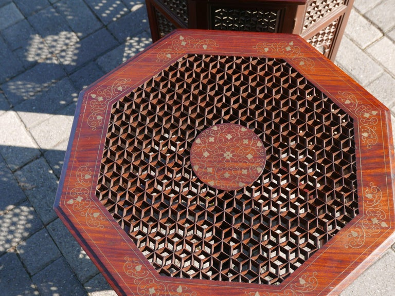 Hand-Carved Pair of Moroccan Sheesham Wood and Brass Fretwork Tables For Sale