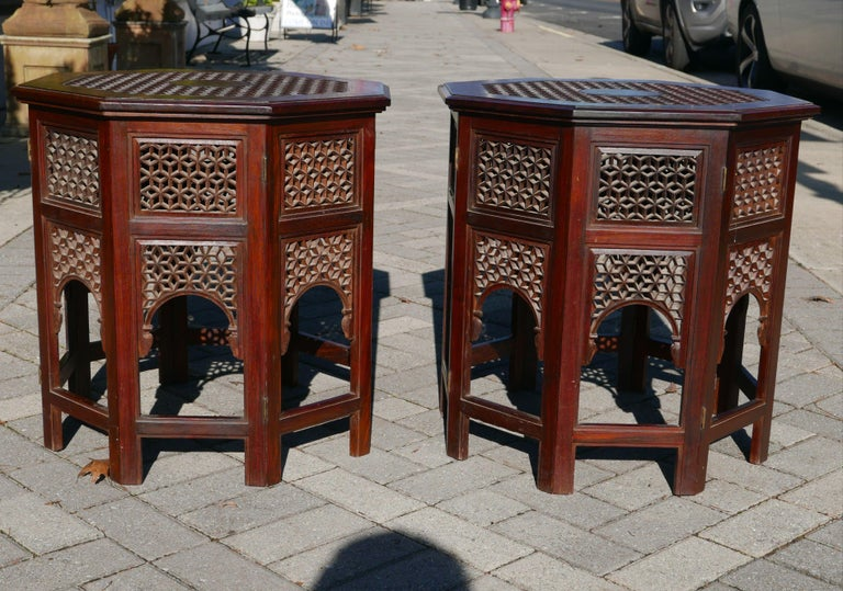 Pair of Moroccan Sheesham Wood and Brass Fretwork Tables In Good Condition For Sale In Kilmarnock, VA