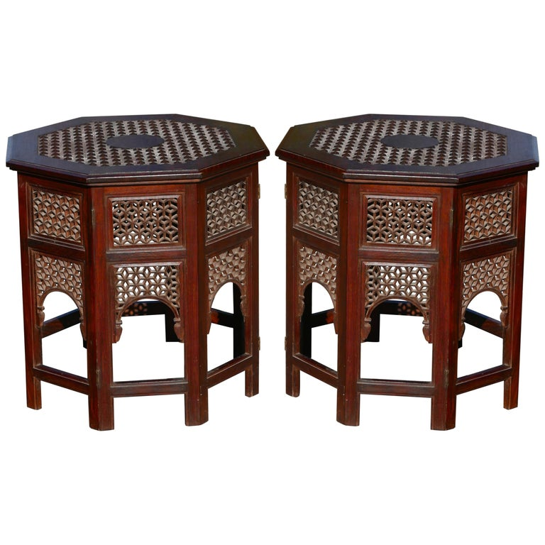 Pair of Moroccan Sheesham Wood and Brass Fretwork Tables For Sale