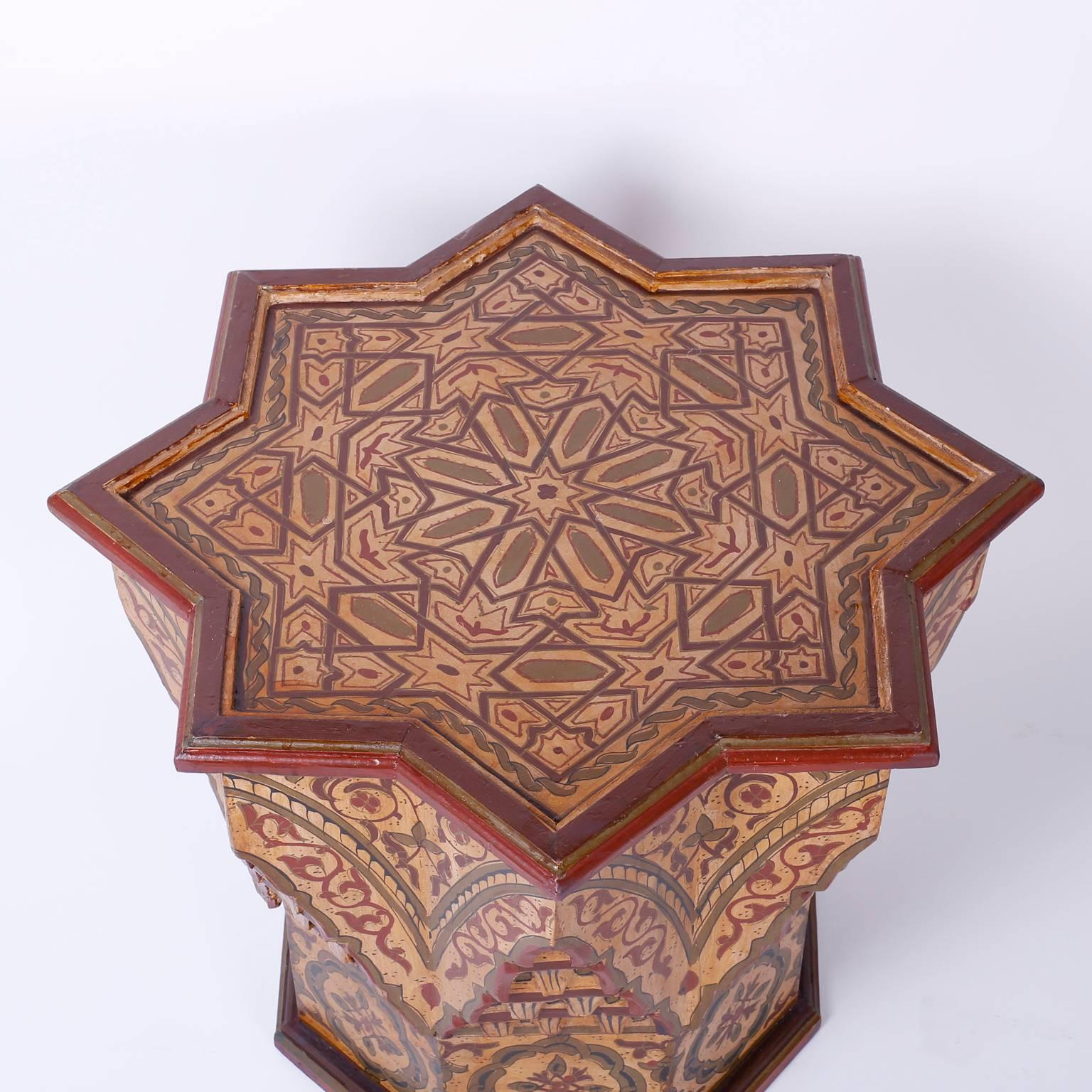 Moorish Pair Of Moroccan Star End Tables For Sale