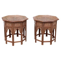 Pair of Moroccan Style Intricately Inlaid Solid Teak Wood Side Tables