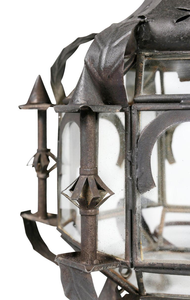 Pair of Moroccan Tole Hall Lanterns In Good Condition For Sale In Essex, MA