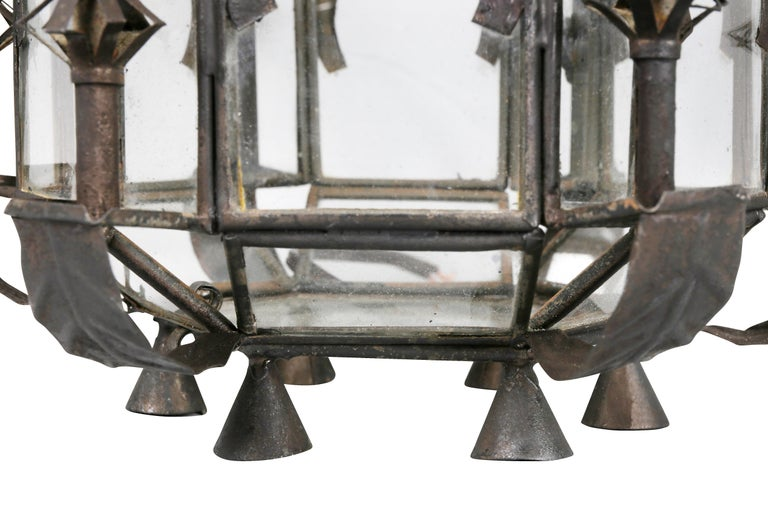 Tôle Pair of Moroccan Tole Hall Lanterns For Sale