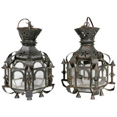 Pair of Moroccan Tole Hall Lanterns