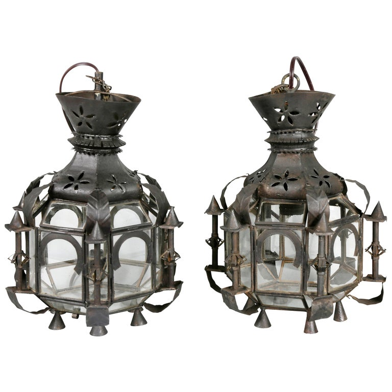 Pair of Moroccan Tole Hall Lanterns For Sale