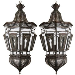 Pair of Moroccan Vintage Moorish Hanging Glass Light Fixtures
