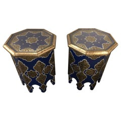 Pair of Moroccan White Brass Inlaid Side or End Tables in Blue Majorelle