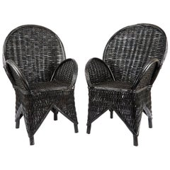 Pair of Moroccan Wicker Chairs
