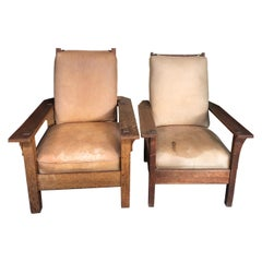 Pair of Morris Stickley Leather Craftsman Chairs