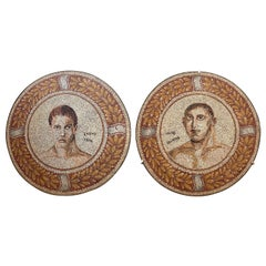 Pair of Mosaics Round Shape Wall or Floor Decoration