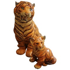 Pair of Mother and Cub Porcelain Tiger Sculptures / Statues