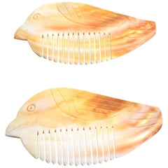 Pair of Mother of Pearl Combs in Bird Form