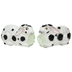 Pair of Mottahedeh Black and White Porcelain Rabbits
