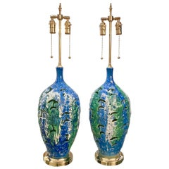 Pair of Mottled Openwork Ceramic Table Lamps