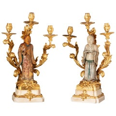 Pair of Mounted Luohan Soapstone and White Marble Base Gilt -Bronze Candelabra