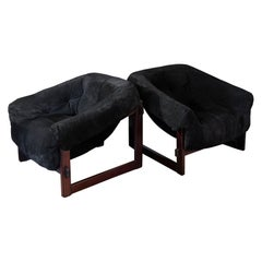 Pair of MP-091 Wood and Black Leather Lounge Chairs by Percival Lafer