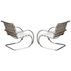 Pair of MR Lounge Armchairs by Mies van der Rohe for Knoll Studio, Signed