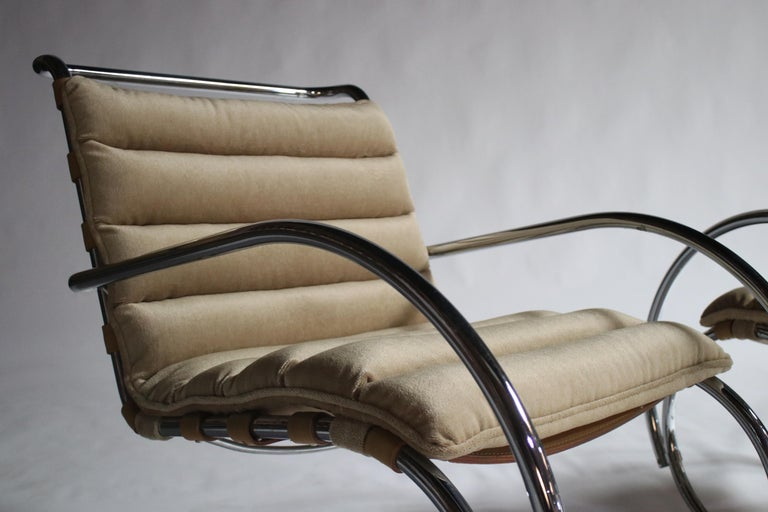 Polished Pair of MR Lounge Armchairs by Mies van der Rohe For Sale
