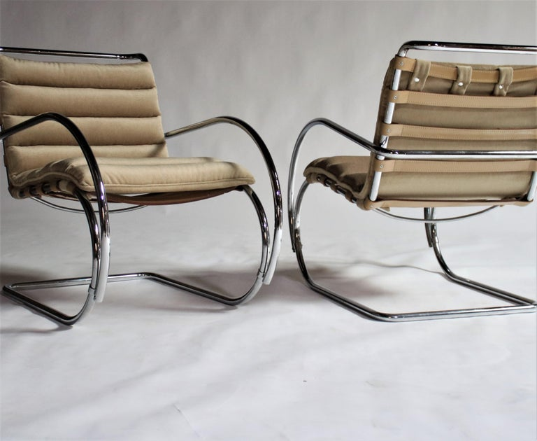 Pair of MR Lounge Armchairs by Mies van der Rohe In Good Condition For Sale In Chicago, IL