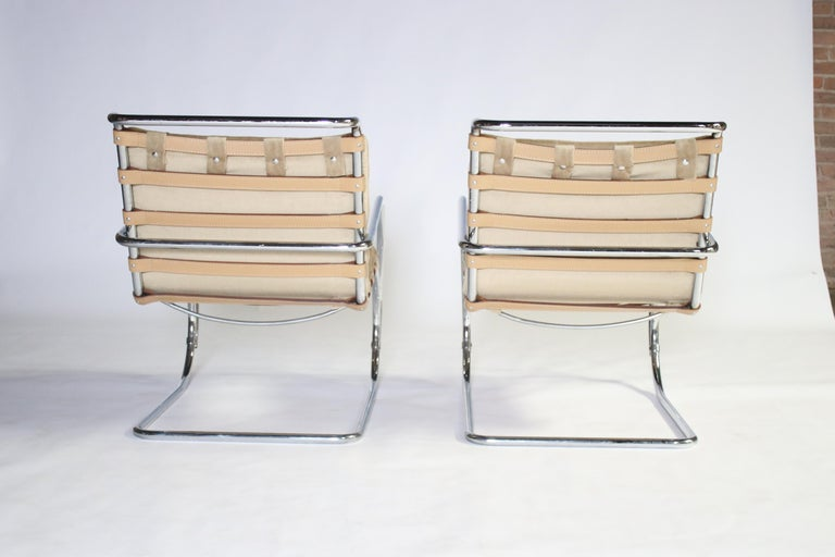 Chrome Pair of MR Lounge Armchairs by Mies van der Rohe For Sale