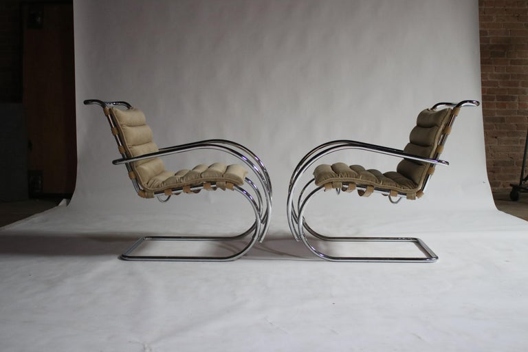 Pair of MR Lounge Armchairs by Mies van der Rohe For Sale 2