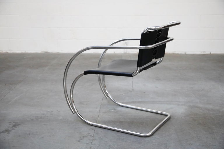 Pair of MR20 Armchairs by Ludwig Mies van der Rohe for Knoll, Signed For Sale 3