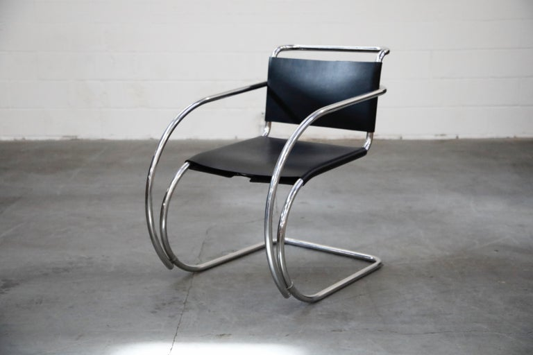 Mid-Century Modern Pair of MR20 Armchairs by Ludwig Mies van der Rohe for Knoll, Signed For Sale